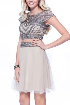 2 PIECE CHIFFON SKIRT AND RHINESTONE AND BEADED TOP homecoming, prom, party dress