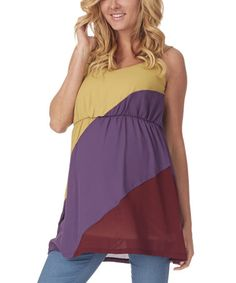 Another great find on #zulily! Mustard & Purple Color Block Maternity Tank - Women by PinkBlush Maternity #zulilyfinds