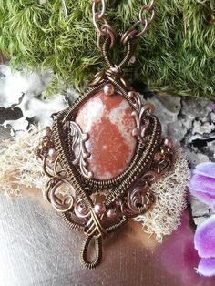 Wire Wrapped Pendant Necklace Fossil Coral In Copper Handmade Wire Weaved Jewelry Jewelry