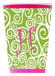 Solo Cup Koozie Lime & white swirl (Cup Included).