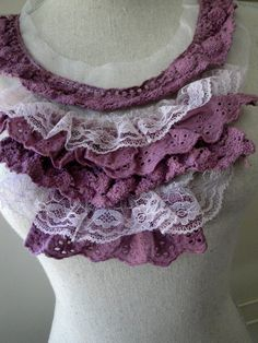 Violet or Lilac Hand Dyed Ruffled Cotton Venice Lace Tulle Collar Applique Crochet Style Lace Neckline Insert for Sewing Summer Wedding S113