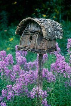 Wooden birdhouse and purple phlox. Dream Garden, Garden Art, Garden Design, Garden Oasis, Beautiful Birds, Beautiful Gardens, Garden Cottage, Cozy Cottage, Fairy Houses