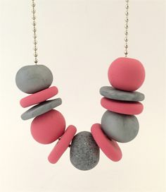 Pink and Silver Polymer Clay Necklace - Hobbies paining body for kids and adult Polymer Clay Projects, Polymer Clay Creations, Clay Crafts, Polymer Clay Necklace, Polymer Clay Beads, Beaded Jewelry, Handmade Jewelry, Jewelry Crafts, Jewelry Making