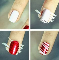 Nail art is a very popular trend these days and every woman you meet seems to have beautiful nails. It used to be that women would just go get a manicure or pedicure to get their nails trimmed and shaped with just a few coats of plain nail polish. Holiday Nail Designs, Simple Nail Designs, Cute Nails, Pretty Nails, Sexy Nails, Candy Cane Nails, Candy Canes, Manicure Y Pedicure, Manicure Ideas