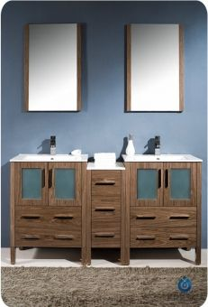60 Inch Double Sink Bathroom Vanity with a Side Cabinet UVFVN62241224WBUNS60