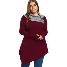 Women Hoodies Plus Size Thumb Hole Asymmetrical Tunic Sweatshirts Tops Autumn Winter Elegant Basic Hoodies Pullovers Plus Size Pullover, Plus Size Cardigans, Plus Size Tops, Julie, Couture, Casual T Shirts, Casual Jeans, Plus Size Fashion, Trendy Fashion