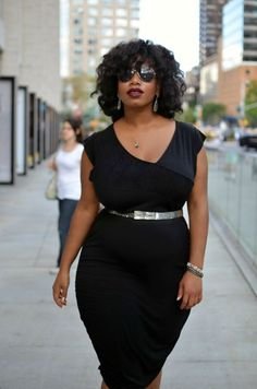OUTFIT: Little (Long) Black Dress by Kelly Augustine : Lucky Community big curvy plus size women are beautiful! Look Plus Size, Curvy Plus Size, Plus Size Women, Curvy Girl Fashion, Look Fashion, Plus Size Fashion, Womens Fashion, Petite Fashion, Fall Fashion