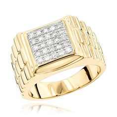 Pinky Rings: Mens Diamond Gold Ring by Luxurman 0.55ct 14K