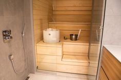 People have been enjoying the benefits of saunas for centuries. Spending just a short while relaxing in a sauna can help you destress, invigorate your skin Diy Sauna, Electric Sauna Heater, Sauna Design, Finnish Sauna, Mini Spa, Steam Sauna, Sauna Room, Wood Interior Design, Spa Rooms