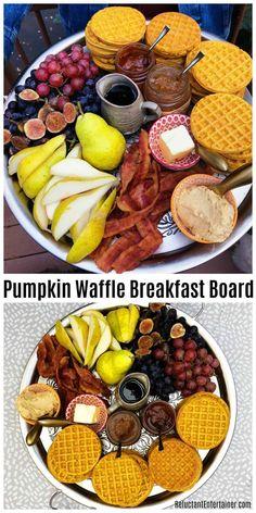 Pumpkin Waffle Board Dinner for Fall or Holiday Entertaining # Pumpkin # Waffles # . Brunch Recipes, Fall Recipes, Appetizer Recipes, Appetizers, Appetizer Dessert, Budget Recipes, Breakfast Platter, Breakfast Waffles, Party Food Platters