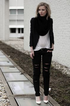 'Rips 'n Pinstripes' by Rowan Reiding from Red Reiding Hood    www.redreidinghood.com    #pinstripe #suit #jacket #oversized #baggy #boyfriend #ripped #distressed #denim #DIY #black #skinny #jeans #mango #scarf #monochrome #basic #wedges #white #outfit #ootd #wearing #fashion #blogger