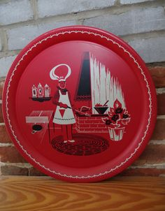 Vintage 1950s Round BBQ Barbecue Chef Tray with by retrowarehouse