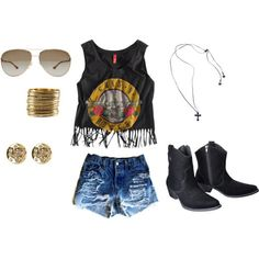 Really been into boho/edgy things lately. Fringe top, high waisted shorts, accessories