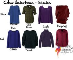 Colour Undertones - Shades purples warm with red and cool with blue