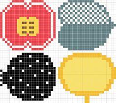 マリメッコのコンポッティの図案 Knitting Designs, Knitting Patterns, Marimekko, Hama Beads, Diy Art, Cross Stitch Patterns, Diy And Crafts, Kawaii, Embroidery