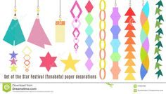 types of tanabata decorations to hang from trees