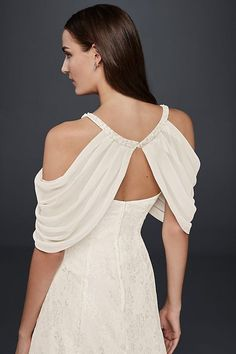 Add a unique accent to your wedding dress with delicate pleated chiffon sleeves. Punctuated by pearls at the neckline, this topper pairs perfectly with strapless dresses. Polyester Button closure I