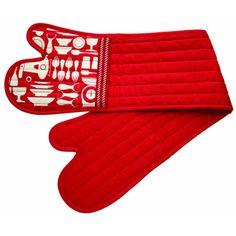 Kitchencraft metro retro double red pattern oven glove mitt 100% cotton