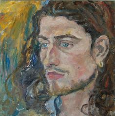 Artist Mary Millner made a #portrait of a thoughtful man-his eyes deep with #stories. Visit ARTDEX for better #art!