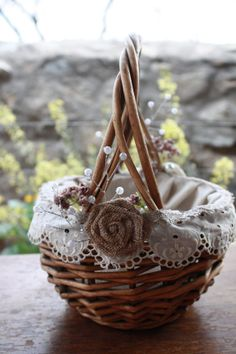 Rustic Flower Girl Basket with vintage ivory by BurlapandButter