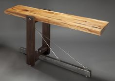 Cantilever Console By Big MidCentury Modern, Console Table by Luxe Magazine Welded Furniture, Steampunk Furniture, Car Furniture, Industrial Furniture, Furniture Design, Wooden Side Table, Wood Table, Metal And Wood Bench, Modern Console Tables