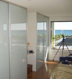 white glass sliding doors