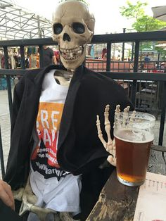 Barnaby enjoying a beer on the patio at Lowertown Brewery in the market in Ottawa Spooky Scary, Skeletons, Ottawa, Spring 2016, Apothecary, Brewery, Good Books, Bones, Patio