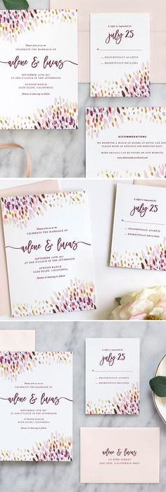 - Abstract Dot Wedding Invitations: Plum/Coral – Fine Day Press Gorgeous watercolor wedding invitations by Fine Day Press - Elegant Wedding Invitations, Garden Wedding Invitations, Watercolor Wedding Invitations, Wedding Invitation Cards, Wedding Stationery, Wedding Cards, Wedding Wishes, Wedding Thanks, Free Wedding