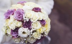 Download wallpapers wedding bouquet, 4k, bouquet of roses, wedding, bridal bouquet, purple roses, white roses