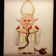 Pope Benedict XIV Vs Gay Community  I made this caricature of the Pope (no offence) as a call for reflection. Gay people are also children of God contained in the Bible. In today's time this is an urgent issue the Church can't ignore for much longer.