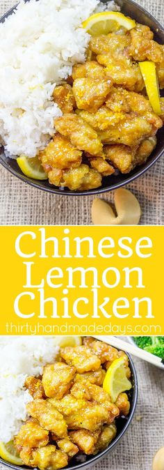 Classic Lemon Chicken with crispy battered chicken thighs in a sweet and tangy sauce. You can skip the delivery and the wait and make it at home! | www.thirtyhandmadedays.com #chinesefoodrecipes