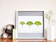 Botanical Fine Art Photography. Leaf Nature Print. 8 x 10 Three Green Leaves. Botanical Study.Ginkgo Leaves. $15.00, via Etsy.