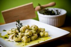 Gnocchi with thyme vinaigrette and lemon cashew cream