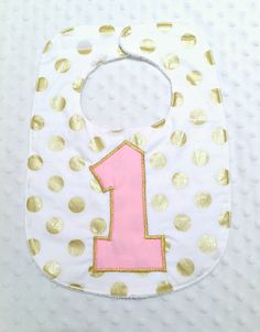 First Birthday Bib with Bow - Baby Girl Polka Dots Pink and Gold First Birthday Bib