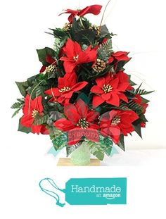 Beautiful XL Red Poinsettia's Available in 3 Inch Marker Vase from Crazyboutdeco Deco Mesh Wreaths and Cemetery Arrangements https://www.amazon.com/dp/B01I06VL5S/ref=hnd_sw_r_pi_dp_vl3tybJ0R1AF7 #handmadeatamazon