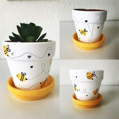 Small planter for plants like succulents. Flower Pot Art, Small Flower Pots, Flower Pot Design, Clay Flower Pots, Bee On Flower, Flower Pot Crafts, Clay Pot Crafts, Bee Crafts, Painted Plant Pots