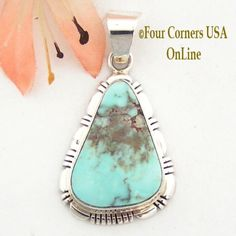 Four Corners USA Online - Dry Creek Turquoise Pendant by Robert Concho Native American Indian Navajo Silver Jewelry  NAP-1490, $146.00 (http://stores.fourcornersusaonline.com/dry-creek-turquoise-pendant-by-robert-concho-native-american-indian-navajo-silver-jewelry-nap-1490/)