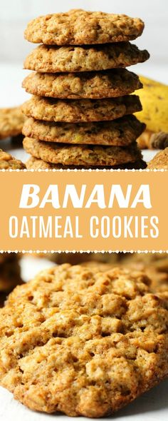 - Vegan Banana Oatmeal Cookies Vegan banana oatmeal cookies that are soft and chewy and packed with banana flavor. These cookies are simple and ideal for either breakfast or dessert. Vegan Treats, Vegan Foods, Vegan Snacks, Vegan Dishes, Vegan Desserts, Vegan Cookie Recipes, Vegan Banana Cookies, Cookies Healthy, Simple Banana Cookie Recipe