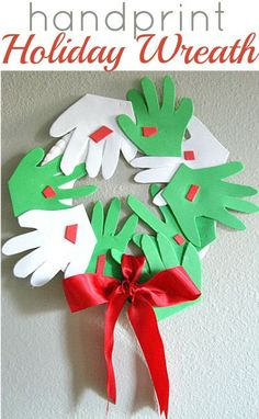 Great handprint wreath for Christmas. See handprint Christmas tree on this board for other suggestions. Preschool Christmas, Christmas Activities, Christmas Crafts For Kids, Holiday Crafts, Holiday Fun, Christmas Holidays, Christmas Decorations, Christmas Ideas, Footprint Crafts