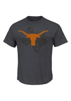 Majestic Texas Longhorns Mens Grey State Short Sleeve T Shirt - 17250277