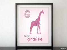 """Nursery printable wall art: glitter animal silhouette and initial """"G is for giraffe"""". Nursery print decor, mint, gold, blue & pink -SIL001 by blursbyaiShop on Etsy, $4.90"""