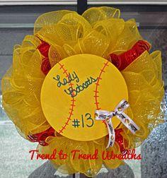 Hey, I found this really awesome Etsy listing at https://www.etsy.com/listing/187636316/mini-mesh-softball-wreath