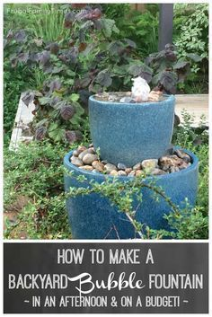 How to build a simple bubble fountain for your backyard or deck. This was a quick and easy DIY - it only took an afternoon! This style of fountain uses two or more pots - and has a relaxing bubbling sound and pretty waterfall effect down the sides. A l