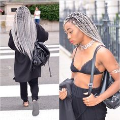 ✨✨grey hair inspiration @uzypaws is Queeen of Grey!! ✨✨shop this look >> #catfacehair grey ombre braiding hair: Link in insta bio or shop.catface@gmail.com