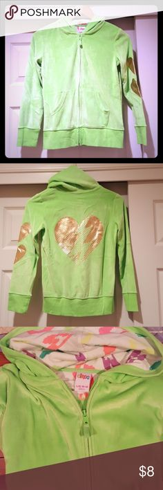 Girls Circo Velour Zip up Hoodie Size L (10/12) Lime green velour zip up hoodie with gold graphic on sleeve and back Circo Shirts & Tops Sweatshirts & Hoodies