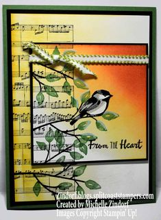 Hand stamped Heartfelt Chickadee Stampin' Up! Card created by Michelle Zindorf - Sheet Music - Petal Palette
