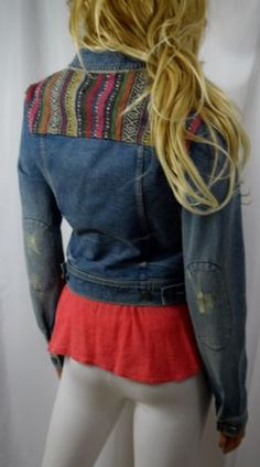 FREE-PEOPLE-ANTHROPOLOGIE-Artisan-Mexican-Blanket-Denim-Jean-Jacket-4