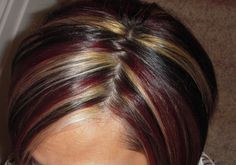 Red and Blonde Highlights in Brown Hair | ... red and blond highlights on dark brown hair. She has such great hair