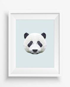 Panda Print,Polygonal Panda,Geometric Panda Head Art Wall Print,Panda Art, Low Poly,Geometric Animal Prints, Panda Head