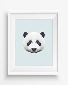 Panda Print,Polygonal Panda,Geometric Panda Head Art Wall Print,Panda Art, Low Poly,Geometric Animal Prints, Panda Head